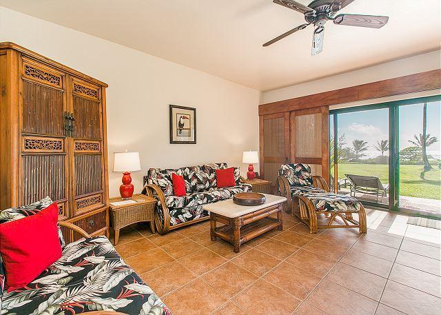 Sala de estar con sofá cama, TV por cable