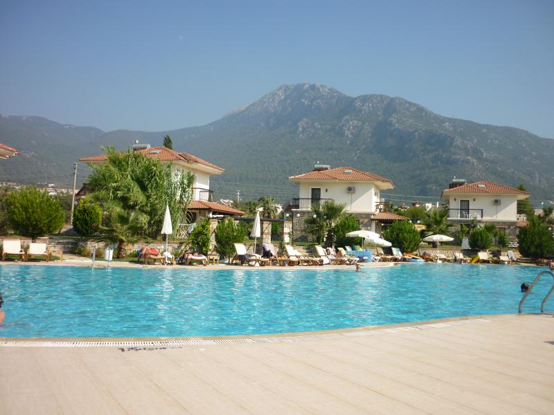 The beautiful pool, just a few steps from the apartment, with fabulous views of Babbadag.