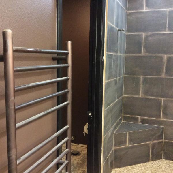 Custom shower, heated towel bar, ensuite has heated floors