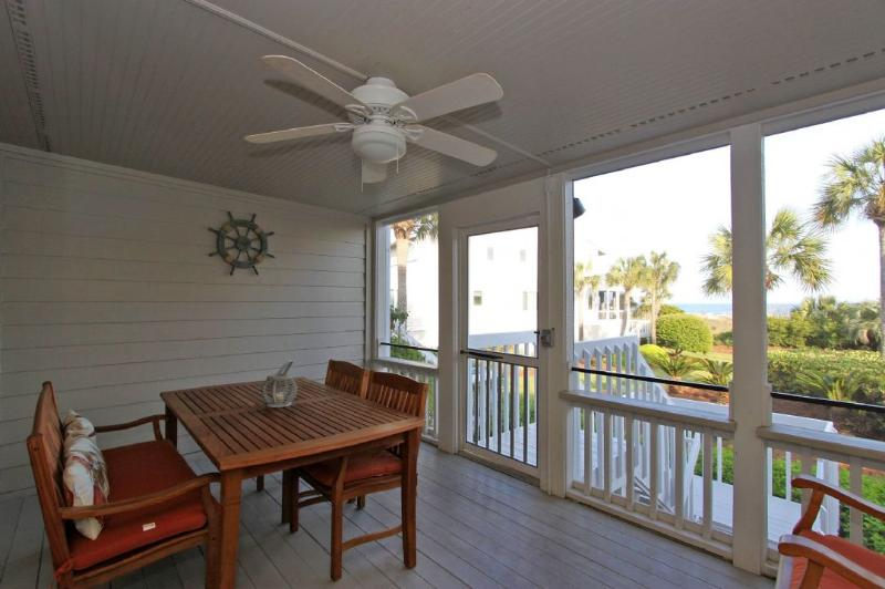 Screened porch with ocean breezes and view