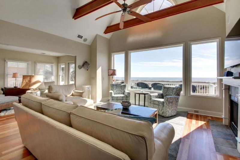 Look out to the ocean in the spacious living room