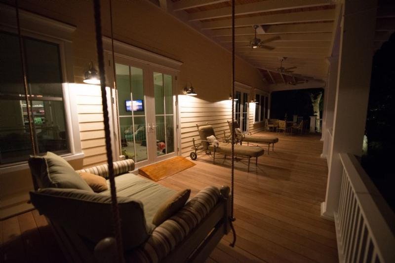 Hanging Outdoor Bed & Plenty of Porch Seating