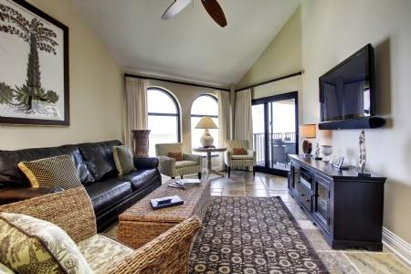 Living Room with Vaulted Ceiling, Oceanfront View