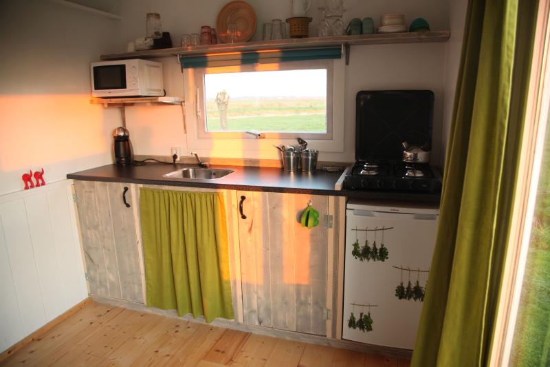 Fully equipped kitchen with microwave, fridge, stove and Dolce Gusto coffee machine