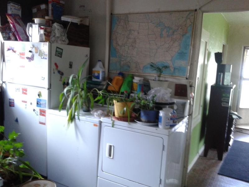 kitchen, washer, dry clothes out on line its summer, door to rental room