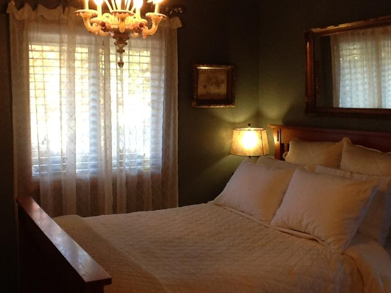 Comfortable queen bed with antique Venetian chandelier. Leaded glass French doors.
