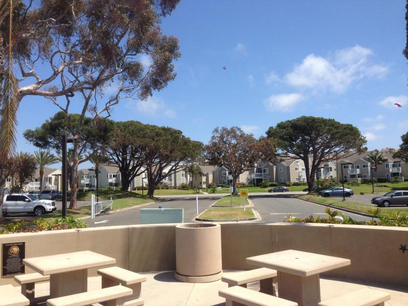 Picnic area in park directly across from condo above beach access