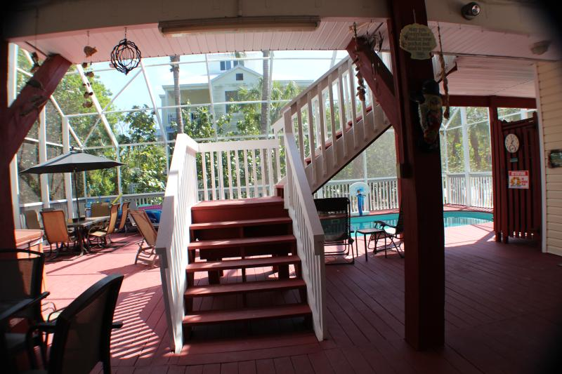 Stairs to the living areas of Manatee Haven.  We also have an elevator.