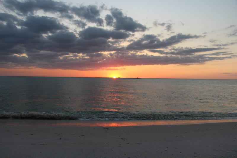 An incredible sunset on our beach, just 250 feet from the Manatee Haven.