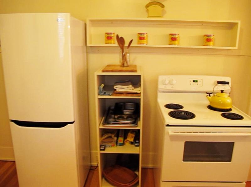 Stove and refrigerator.