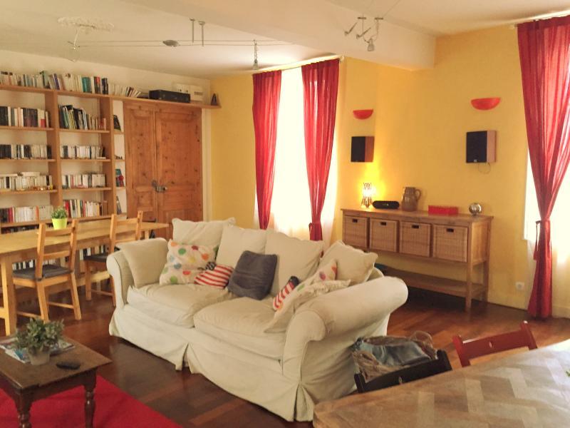 Grand salon / salle à manger, bibliothèque, télévision et DVD
