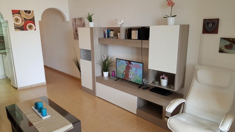 Modern living room with flatscreen TV, stereo, Wifi-Internet