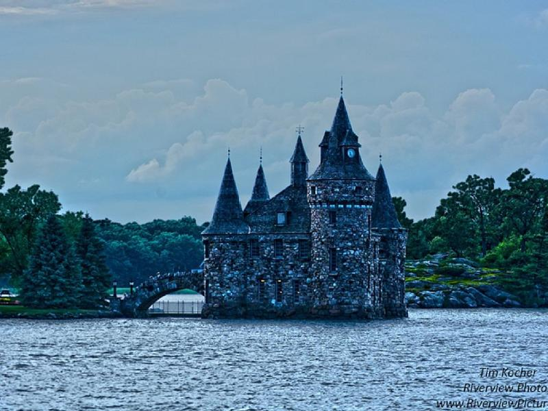 Clock Tower, with small walking bridge leading to Boldt Castle, visible from our property!