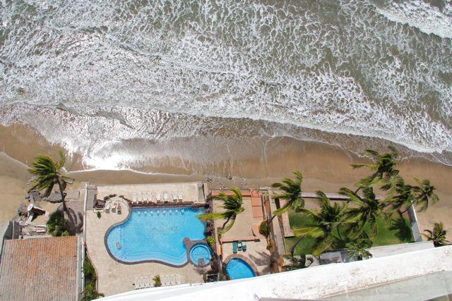 View down to the pool level from the balcony.