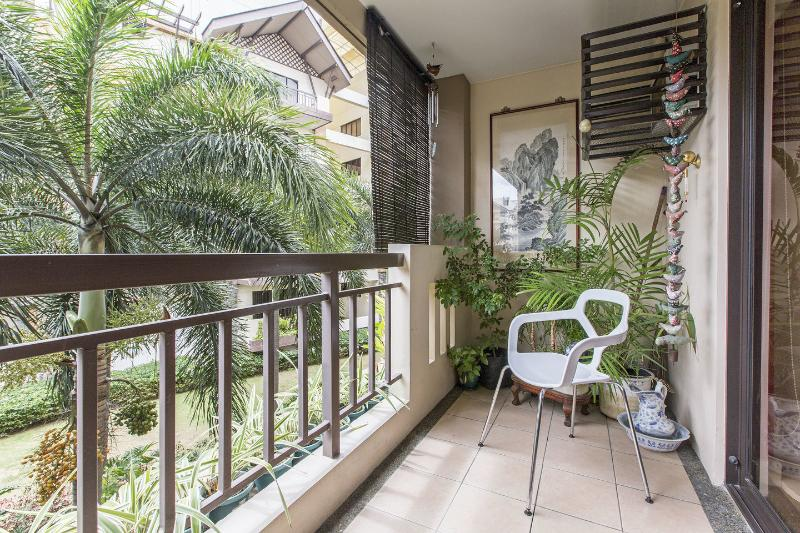 2nd floor balcony overlooking fore garden and pools in distance...