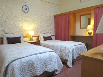 Horseshoe's Twin Bedroom is located beside the main bathroom has  feature walls and a writing desk