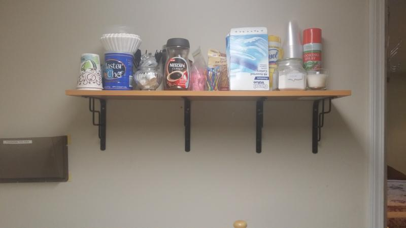 Fully stocked beverages area(coffee, tea, milk, water, spices)
