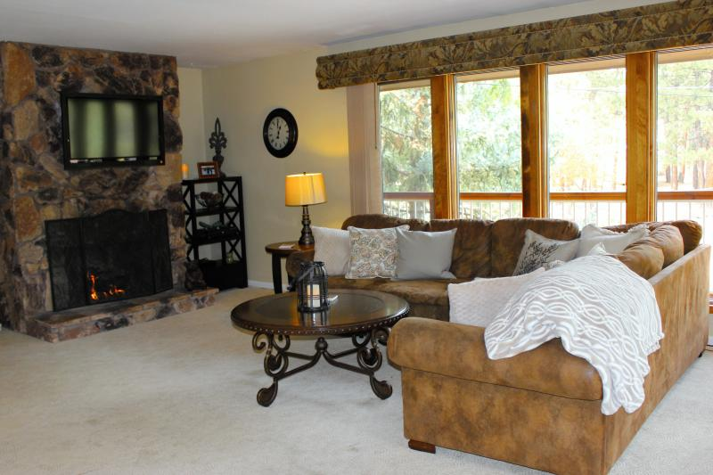 Another view of the family room that shows the cozy fireplace and more windows!
