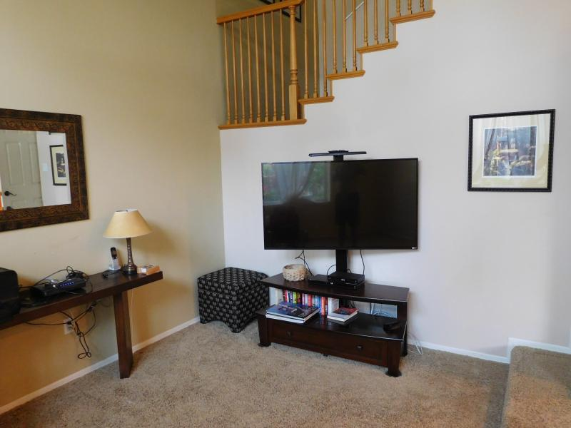 iving Room with 55' flatscreen TV and DVD player, and high speed wireless internet.