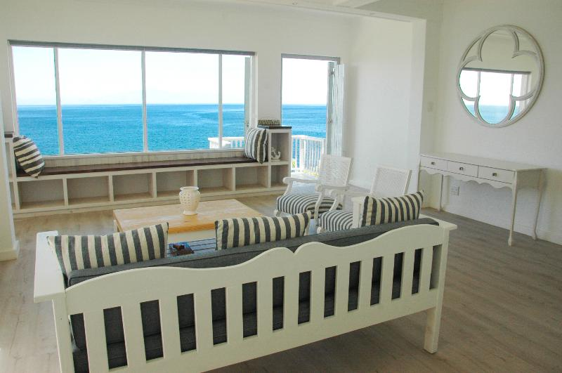 Sea View from Lounge with feature mirror and built in window bay