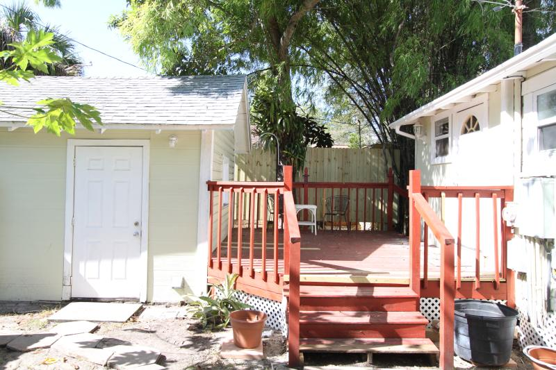 back porch and garage side door