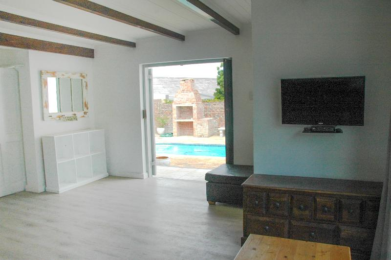 View of Pool from Leather Couch