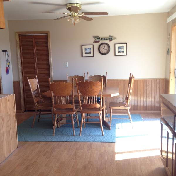 Lots of space in the kitchen area.  Dishes, cutlery and cookware included.