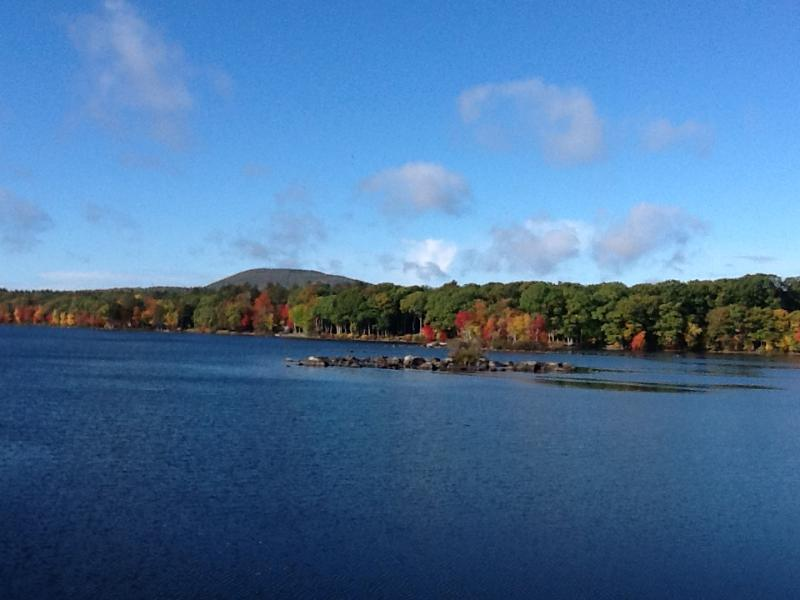 Fall is a beautiful time on lake Megunticook.  View from the deck.