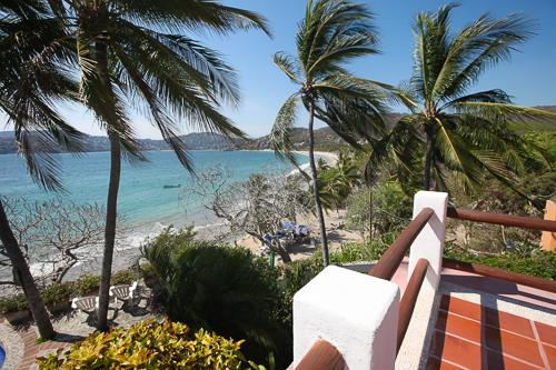 Corner of our Upper house patio, looking down on La Ropa Beach