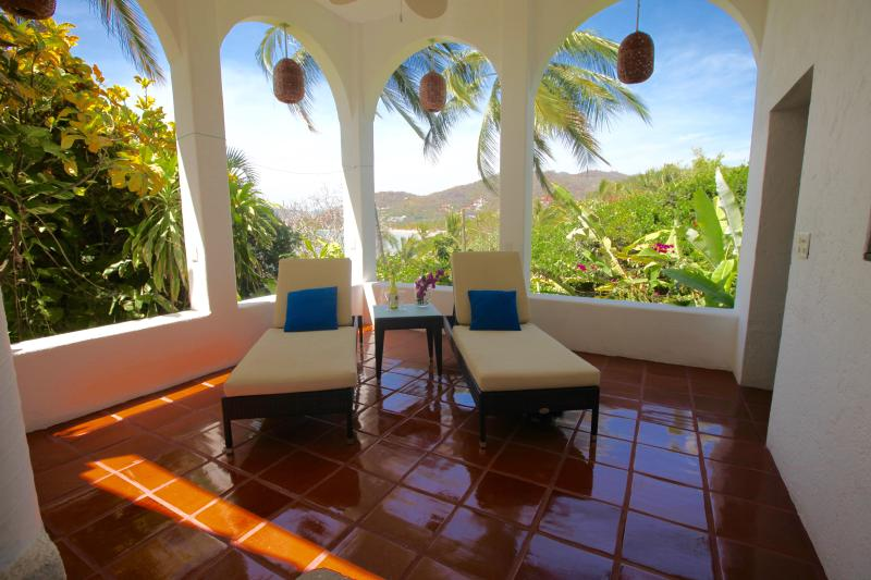 Patio off the Master Bedroom, Lower House, with views of the Sierra Madres and Zihua  Bay