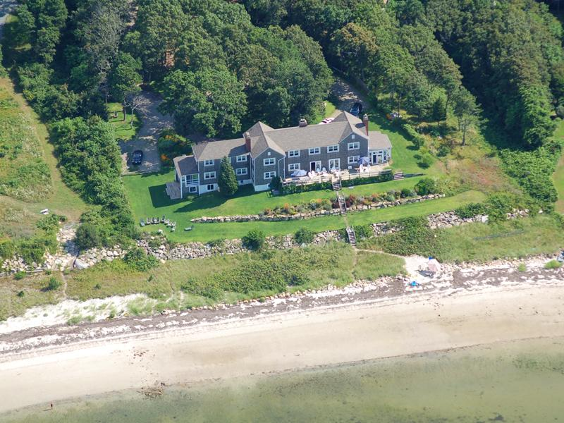 Million dollars views from every room. Aerial view of home from beach on Buzzards Bay. No Traffic!