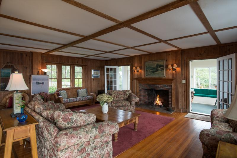 Second half of grand living room with two fireplaces.  Perfect also for retreats, fundraisers!