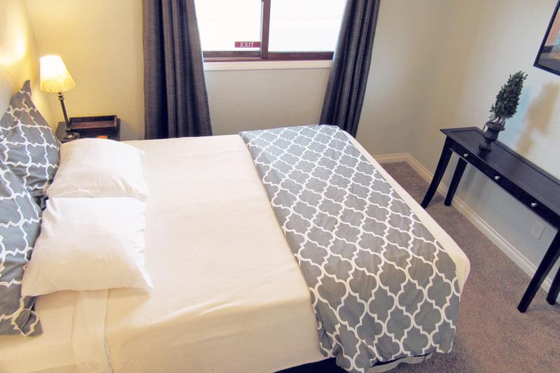 2 queen bedrooms Blackout curtains Guests comment on our comfortable beds. Egyptian cotton sheets