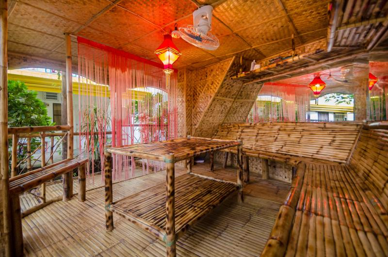 Inside the Bamboo Gazebo/lounge