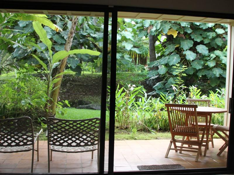 Tropical views of lush green garden and live stream from living room lanai.