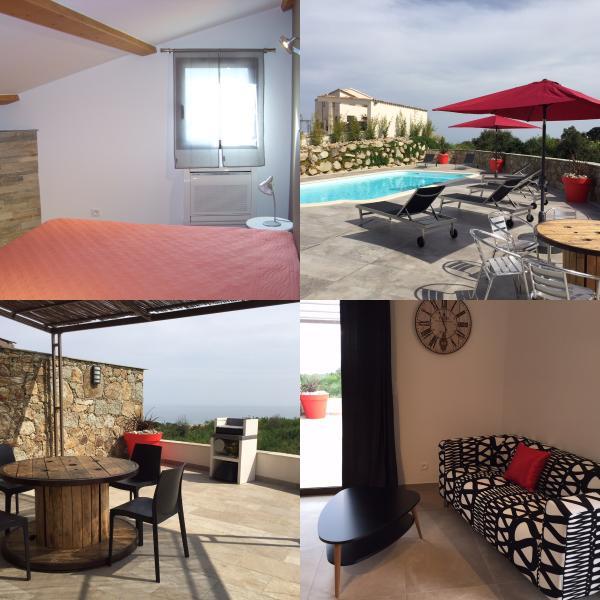vue de la piscine, la chambre la terrasse et le séjour du T2