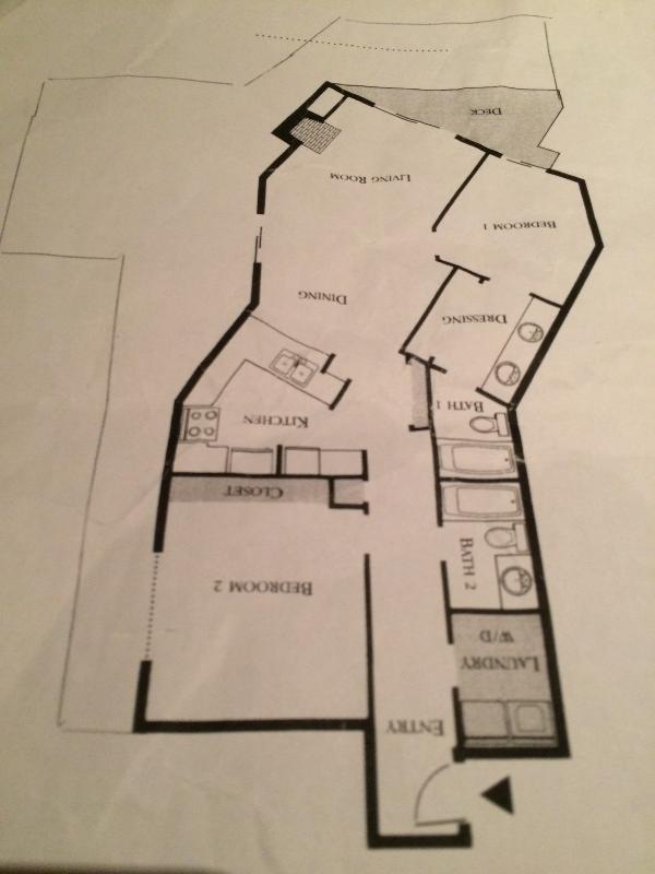 La mince ligne en dehors de l'unité est le contour d'un grand patio exclusif à l'unité.