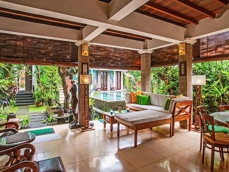 Open plan living-stunning pool and garden with rice paddy views.