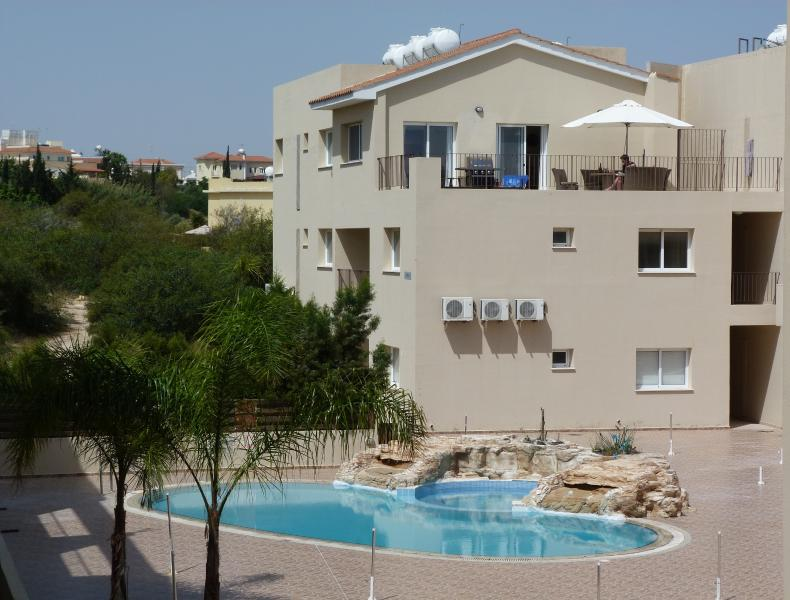 Top floor apartment, with huge private balcony overlooking sun patio and pool area