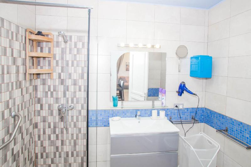 The blue bath-room with a 2 meters walk-in shower; big cabinet, hair-dryer and first-aid