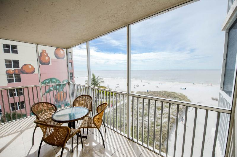 Right on the beach with great views from the balcony