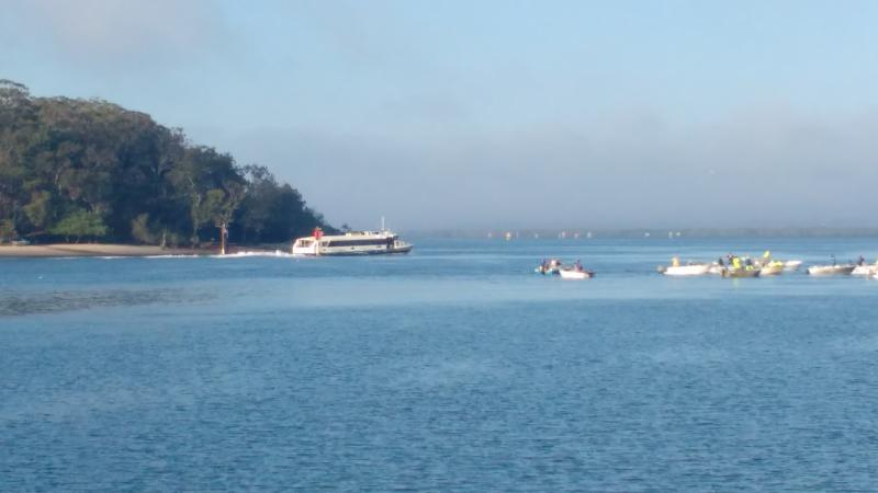 6am sea mist, passenger ferry and prawn fishing  between Karragarra  and Macleay Islands.