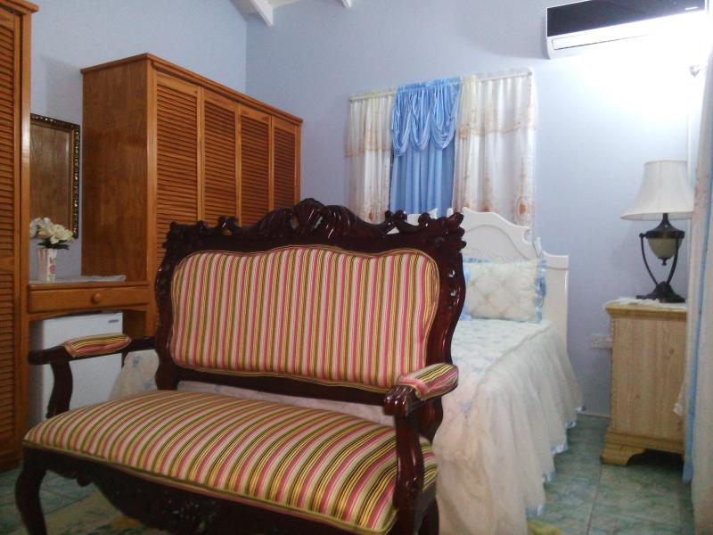 The blue La Belle has it's own full bath, A/C, flat  screen TV, own personal refrigerator.