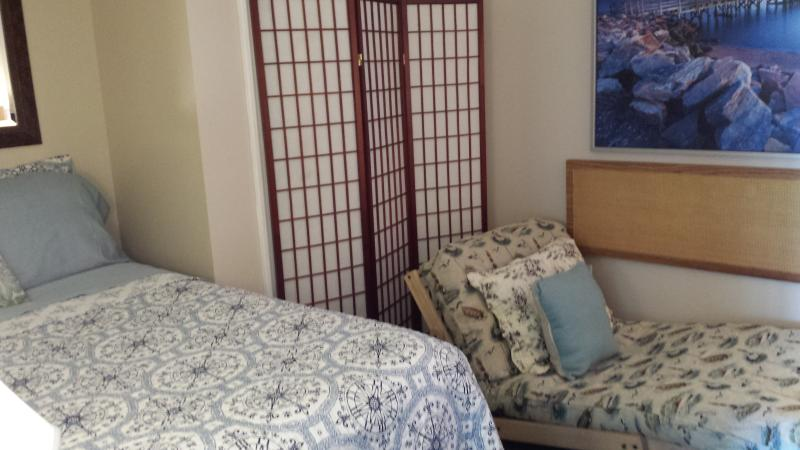 queen size bed and twin size futon