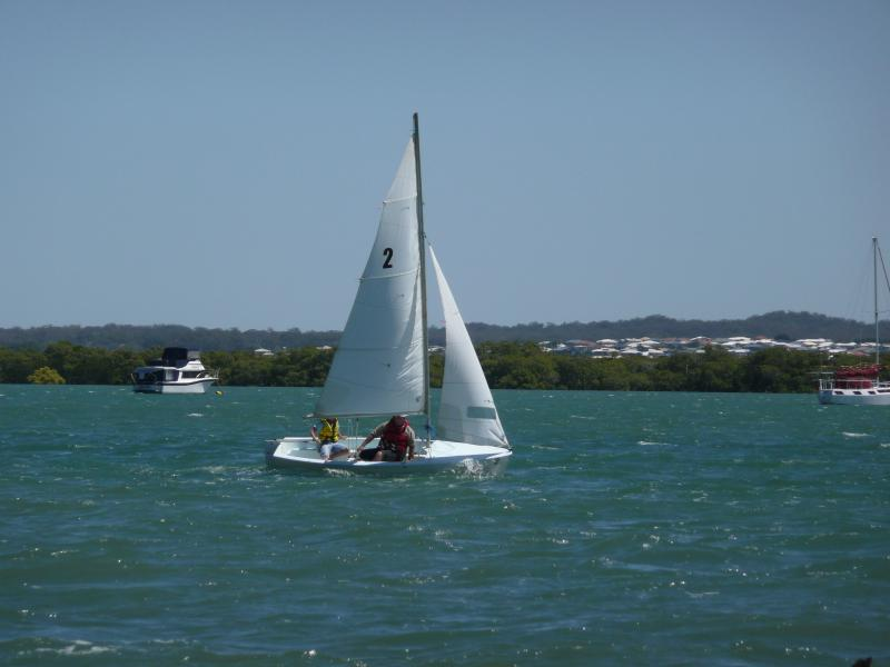 Our grandson & friend sailing between Macleay Island and Redland Bay