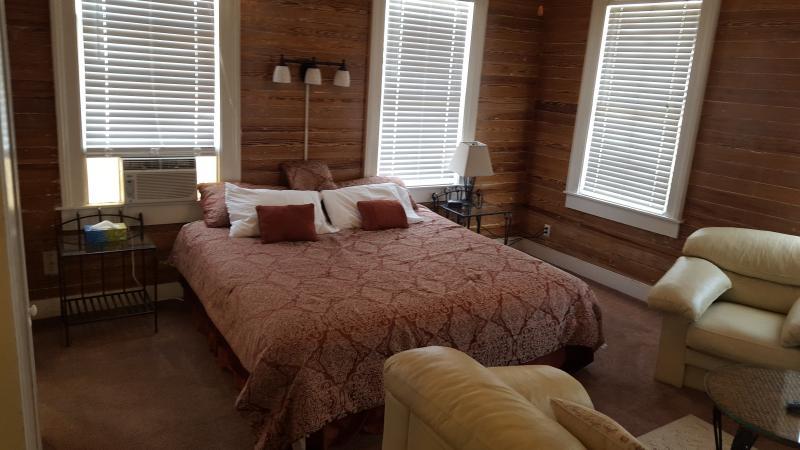 Grande efficacité avec un lit King, 5 fenêtres, ac, télévision par câble, internet avec salle de bains, cuisine et balcon