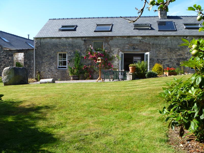 Dunmuck= Hill of Wild Boar (gaelic). Farmhouse from the the garden. Sunroom on right, out of frame