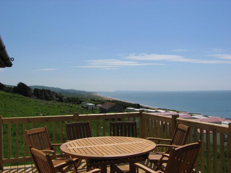 A stunning view from your private balcony. Over looking all Lyme bay and our private beach
