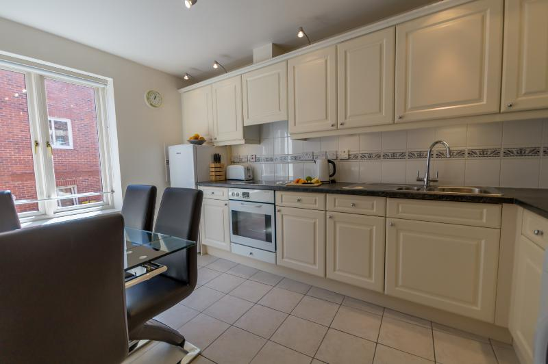 Bright kitchen with dining area