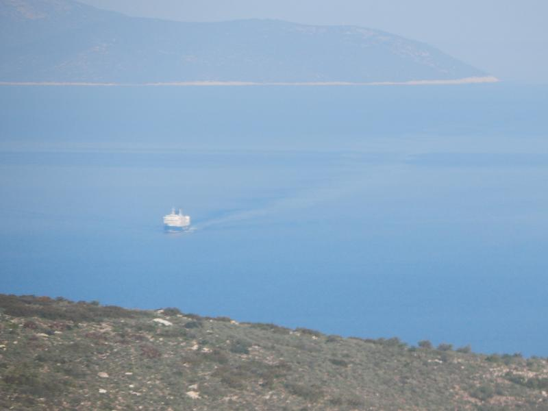 The ferry is  returning from the island of Kea (Jia)